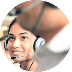 Lady working in a customer care center